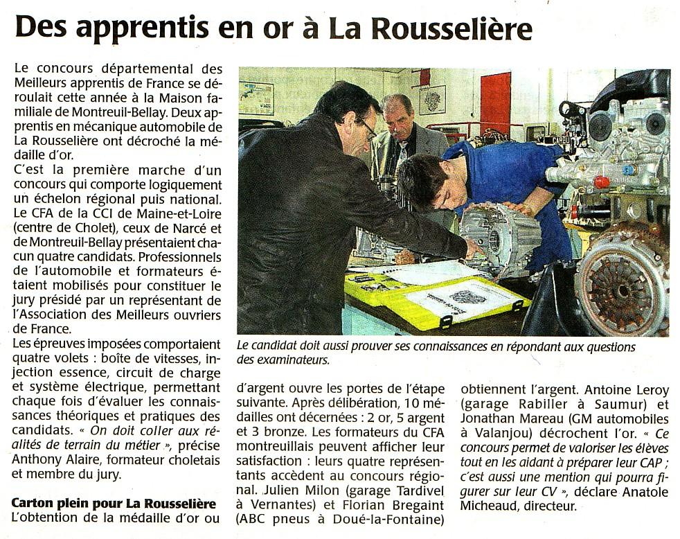 Article de presse Meilleurs Apprentis départemental Maine et Loire